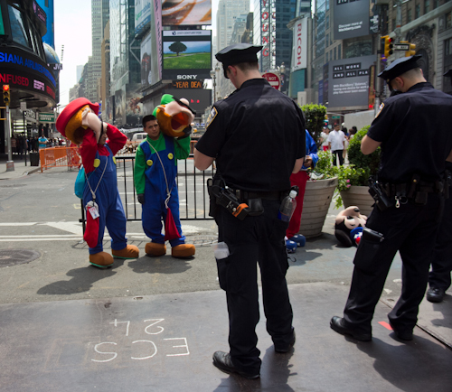 good news bad news cops times square mario brothers arrested costume